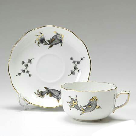 Coy Fish Black - Teacup and Saucer
