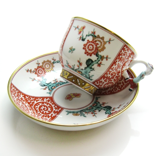 Teacup and Saucer, mandarin handle - Chinese Fish