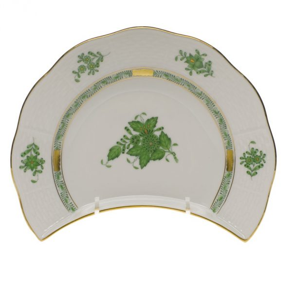 Chinese Bouquet Green - Crescent Plate Set for 5