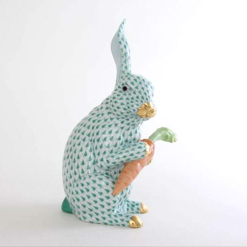 Bunny with carrot, large - Fishnet Green