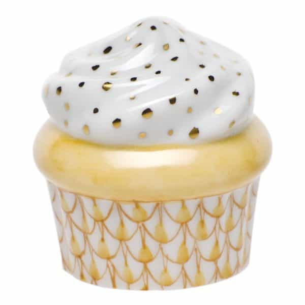 Herend Cupcake Yellow Fishnet Figurine