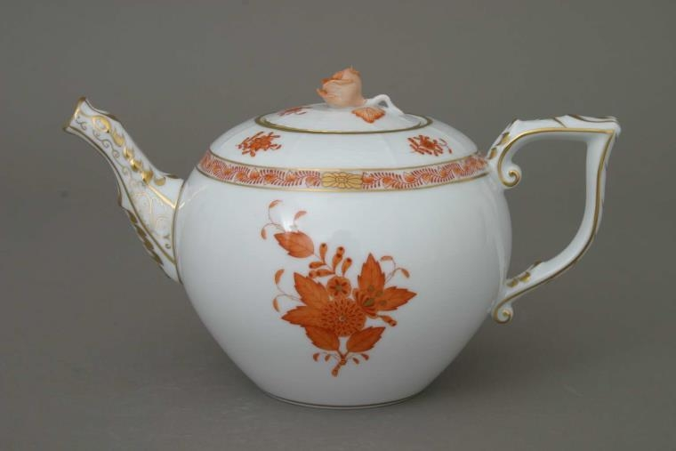 Teapot, rose knob - Chinese Bouquet Rust