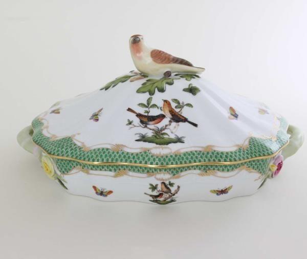 Vegetable dish, bird knob - Rothschild Bird Green