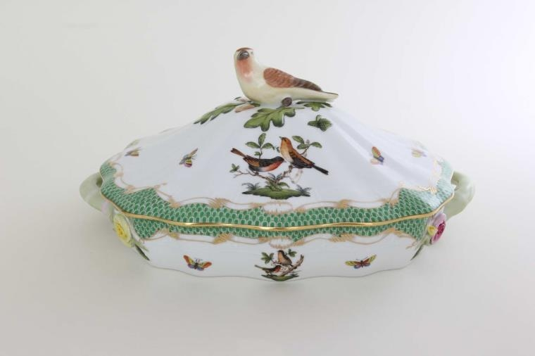 Vegetable dish, bird knob - Rothschild Bird Green