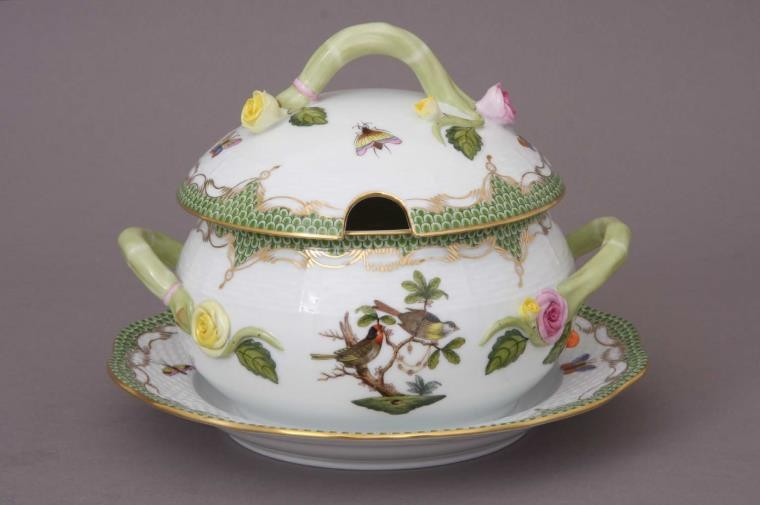 Soup tureen, branch knob - Rothschild Bird Green