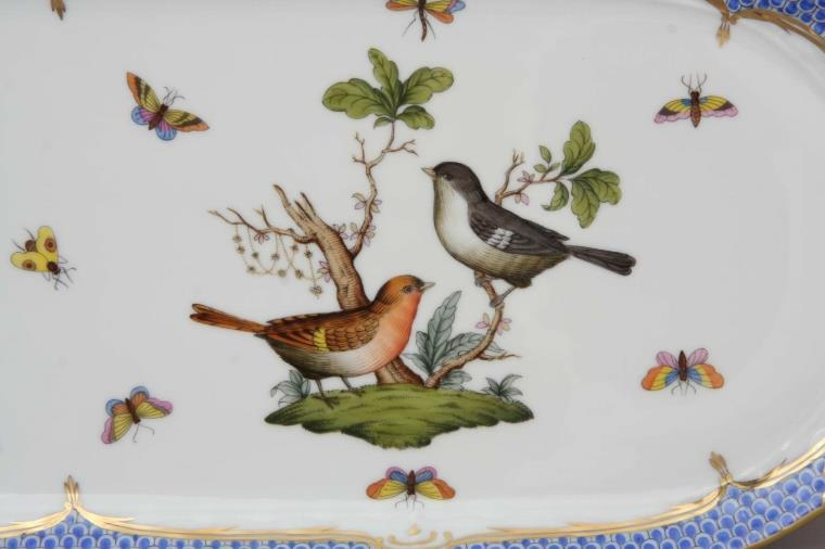 Large Sandwich Dish - Rothschild Bird Blue