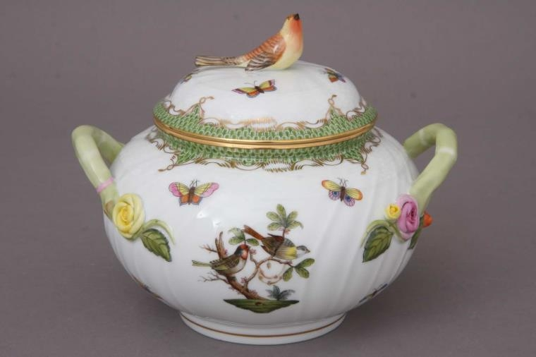 Soup tureen, bird knob - Rothschild Bird Green
