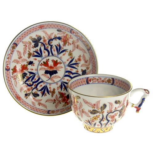 Teacup and Saucer, mandarin handle - Canton