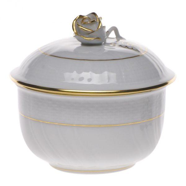 Sugar Bowl, rose knob (4 oz) - Golden Edge