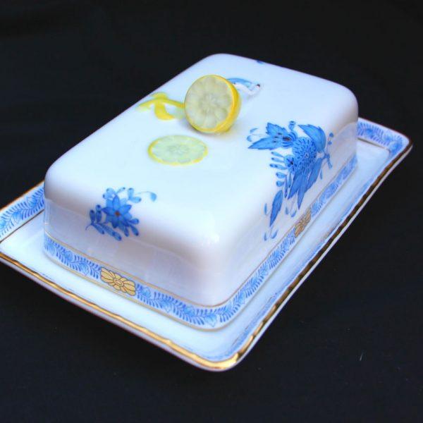 Chinese Bouquet Blue - Butter dish, lemon knob