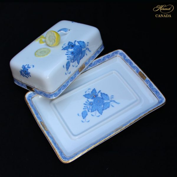 Chinese Bouquet Blue - Butter dish, lemon knob