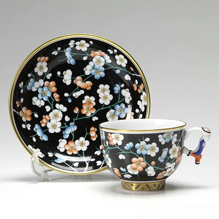 Teacup and Saucer, mandarin handle - Black Plum Flower