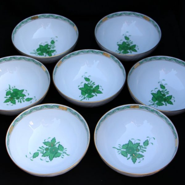 Cereal Bowl Set for 7 - Chinese Bouquet Green