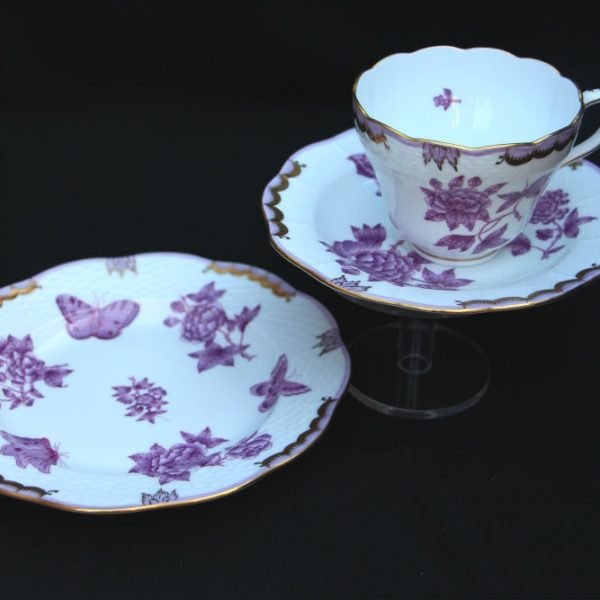 Teacup and Saucer + Dessert Plate Set - Queen Victoria Purple
