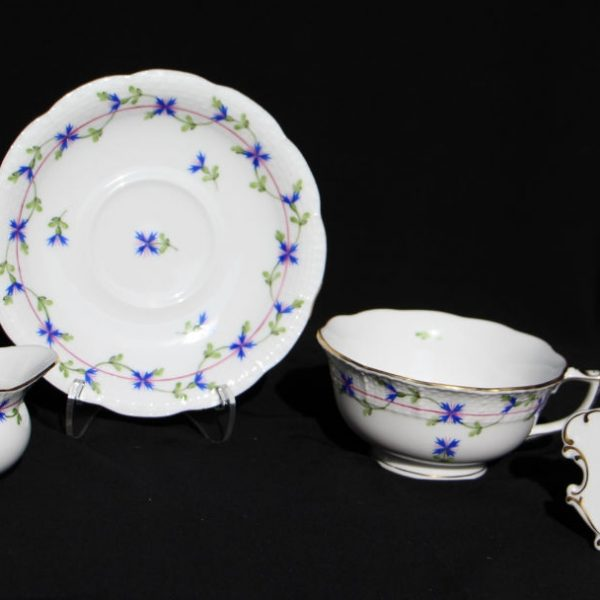 Petite Blue Garland - Teacup and Saucer with Creamer