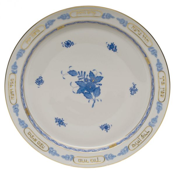 Chinese Bouquet Blue Seder Dish with small plates (6)