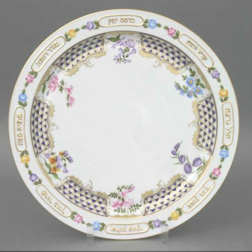 Seder Dish with small plates (6) - Nanking Bouquet Blue