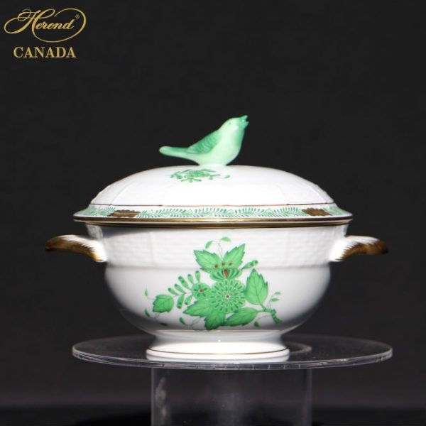 Chinese Bouquet Green - Soup Cup and Saucer, Rose Knob