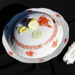 Butter Dish, lemon knob - Chinese Bouquet Rust