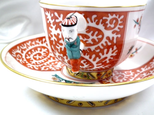 Tray with 2 Teacup and Saucers