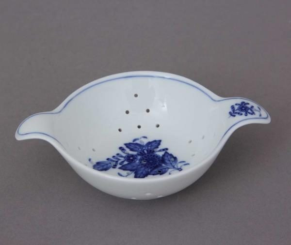 Tea Strainer with cup - Chinese Bouquet Inglazed Blue
