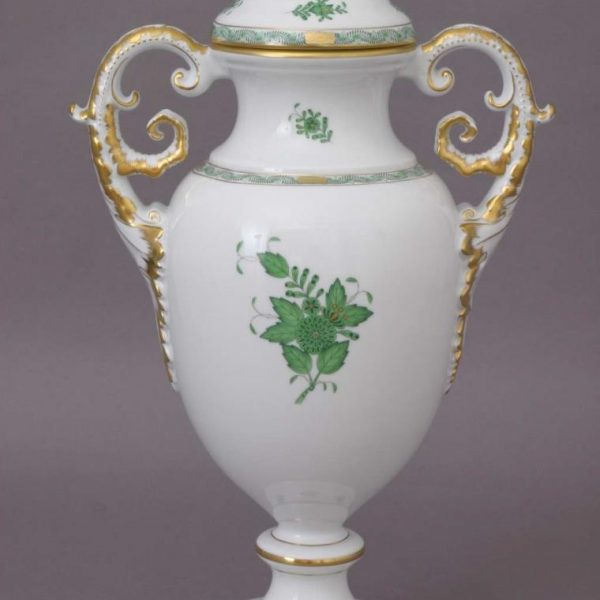 Fancy vas with lid - Chinese Bouquet Green
