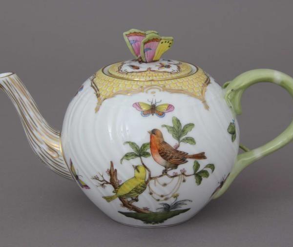 Teapot, butterfly knob - Rothschild Bird Fish Scale Yellow
