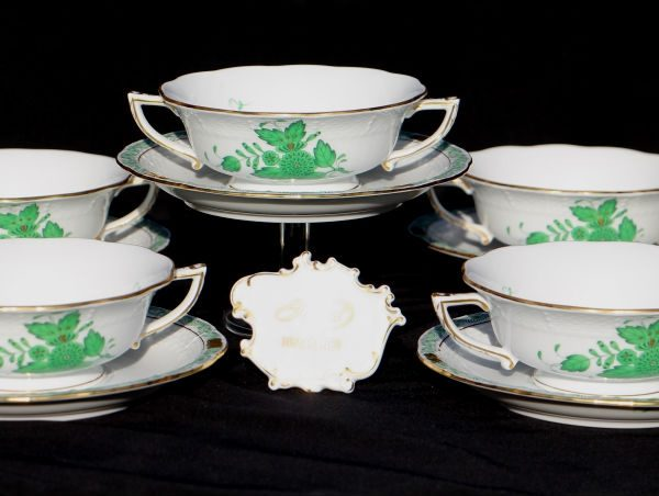 Cream Soup Cup and Saucer - Chinese Bouquet Green
