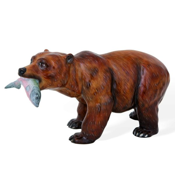 Grizzly Bear w. Salmon Fish - Matt Natural herend animal figurine