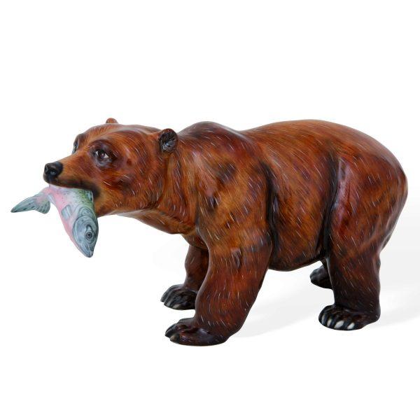 Grizzly Bear w. Salmon Fish - Matt Natural herend animal figurine