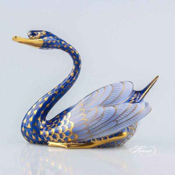 Swan, looking to the left - Cobalt Blue & Gold