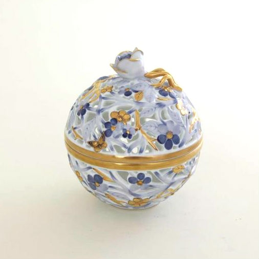 Bonbon, open-work, rose knob - Royal Blue and Gold Hand painted open work bonbon decorated with navy blue and 24k gold decoration. Perfect gift for any occation. All Herend home decor pieces come with gift packaging and Certificate of Origin.