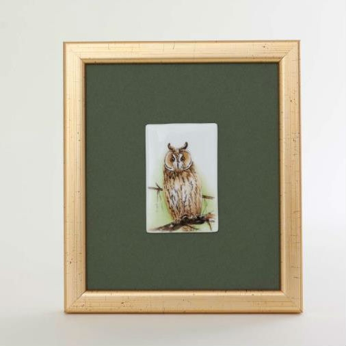 Herend Framed Owl Picture