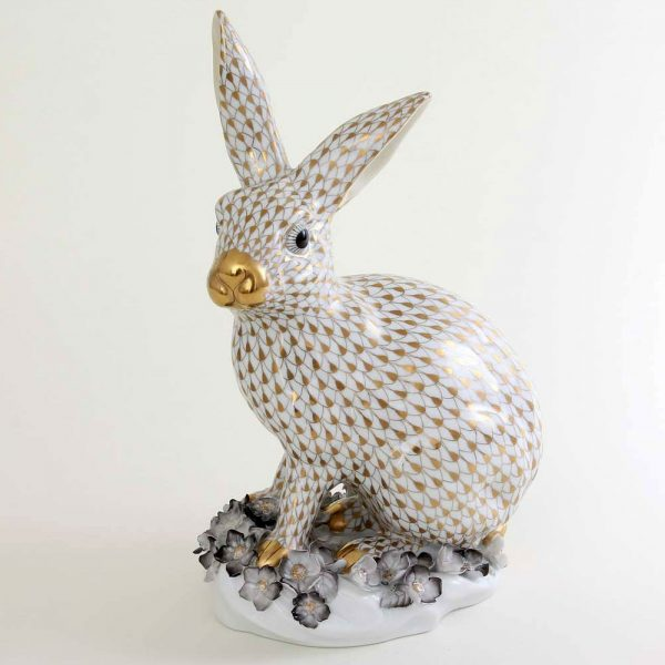 Herend-Rabbit-Gold-Fishnet-Flower-Ornament-05334-0-66 VHOR.
