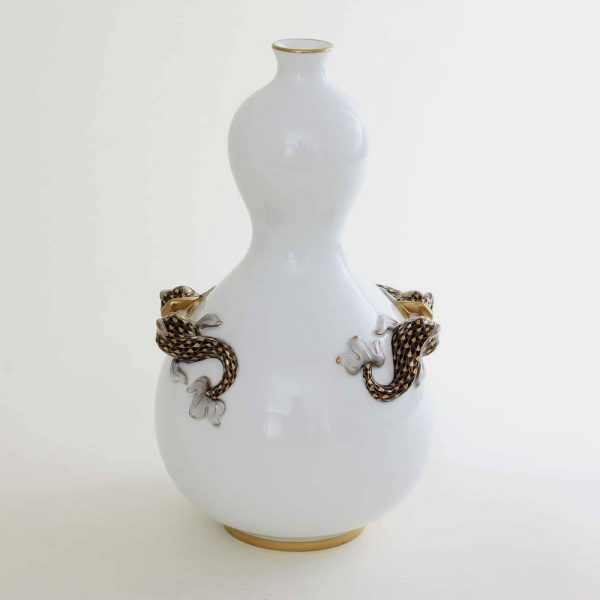 Vase with Dolphin - Fishnet Black & Gold
