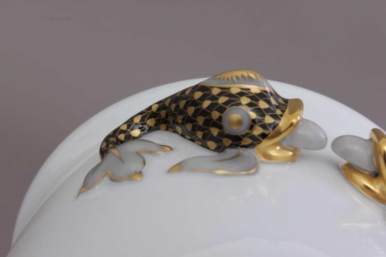 Flowerpot, dolphin handle, medium - Fishnet Black & Gold