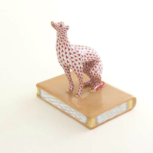 Greyhound Bookend - Fishnet Rust