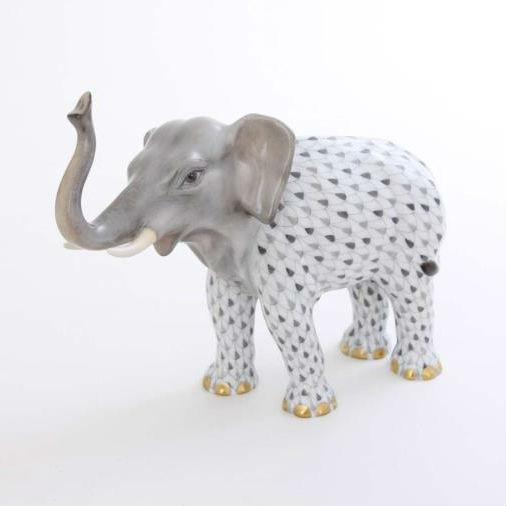 Herend Lucky Elephant Figurine - Fishnet / Natural