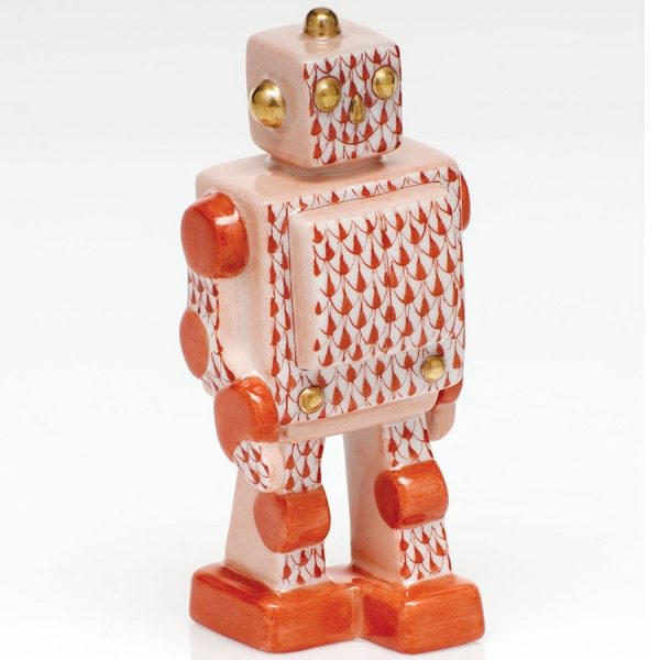 Herend Toy Robot Figurine - Fishnet Rust