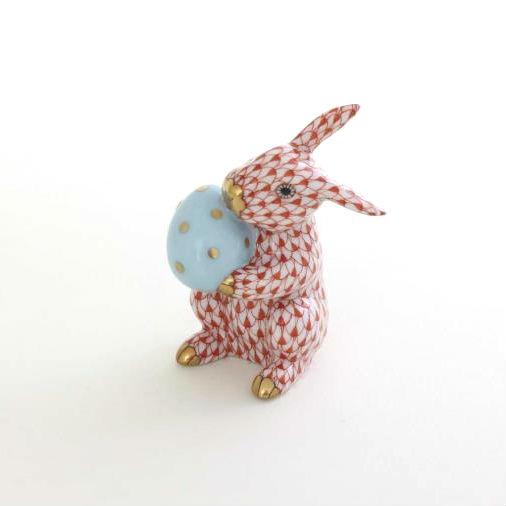 Herend Easter Bunny Figurine - Fishnet Blue