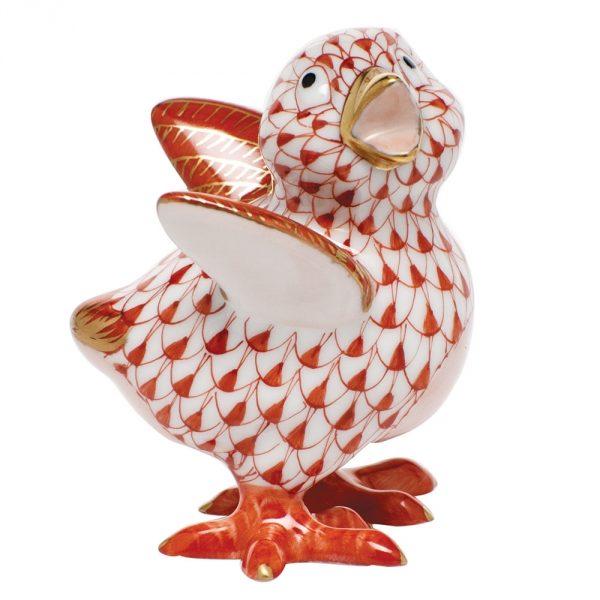 Herend Little Chicken Figurine - Fishnet Rust