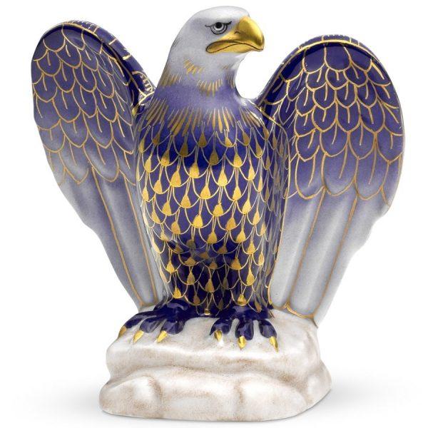 Herend Eagle Figurine - Fishnet Cobalt Blue & Gold