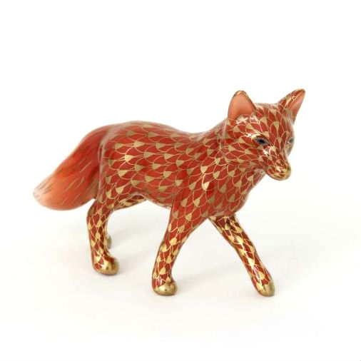 Herend Fox Figurine - Fishnet Rust - Gold