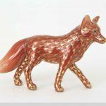 Herend Fox Figurine - Fishnet Rust - Gold