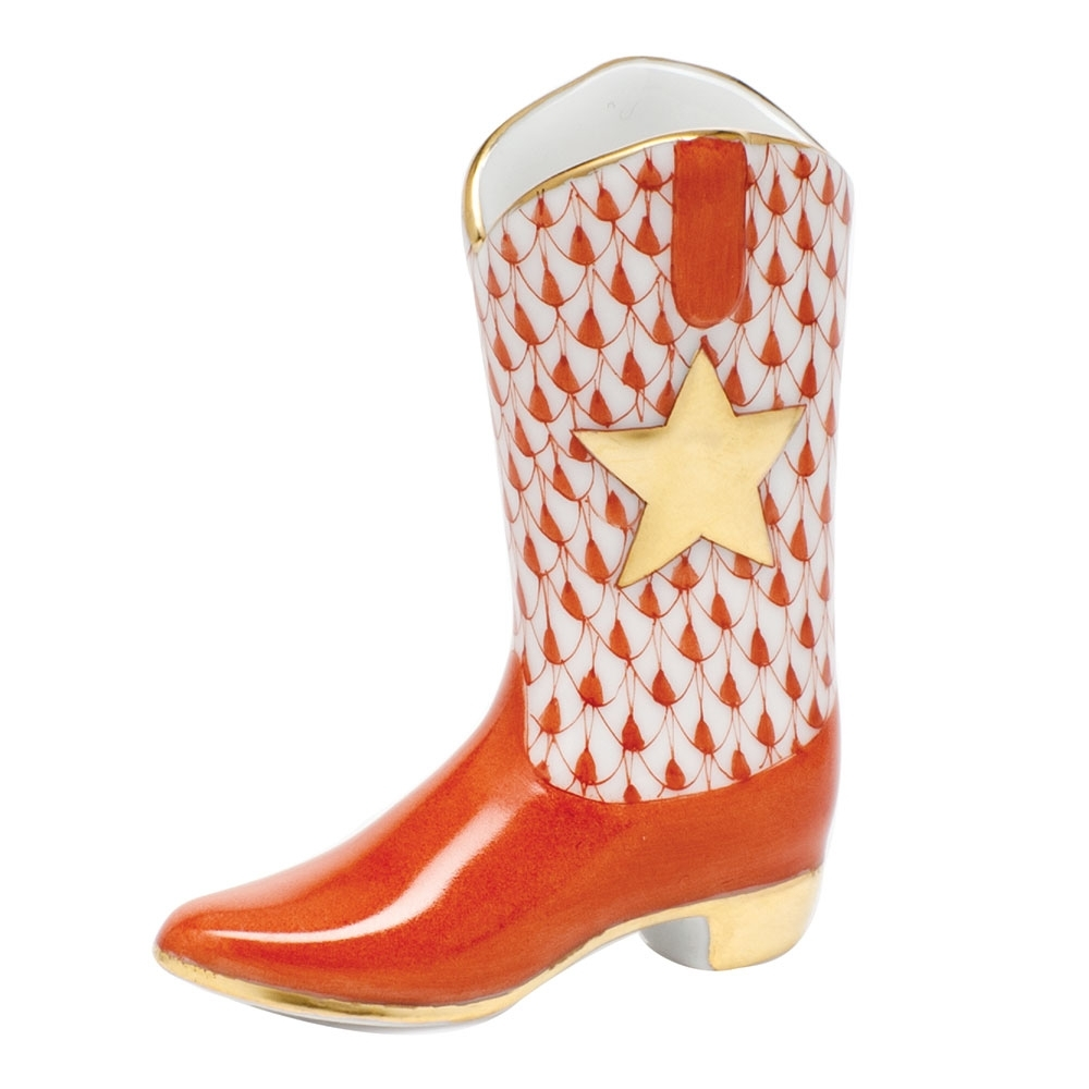 herend-cowboy-boot-figurine-fishnet-rust