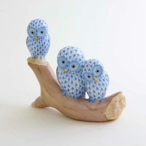 Herend Owls On Branch Figurine Blue Fishnet