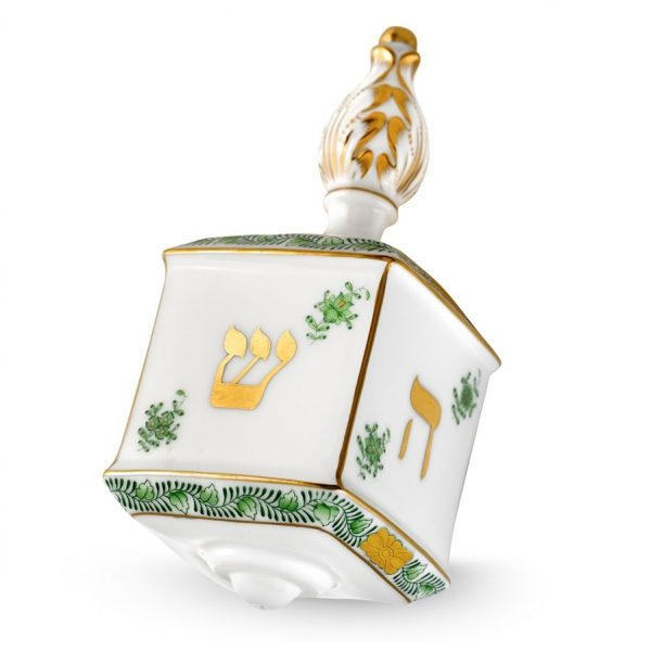 Dreidel w. stand - Chinese Bouquet Green