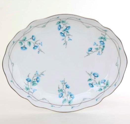 Oval dish - Morning Glory Platinum