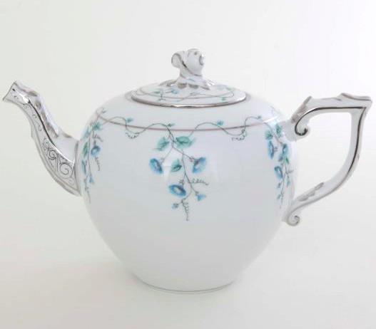 Teapot, twisted knob - Morning Glory Platinum