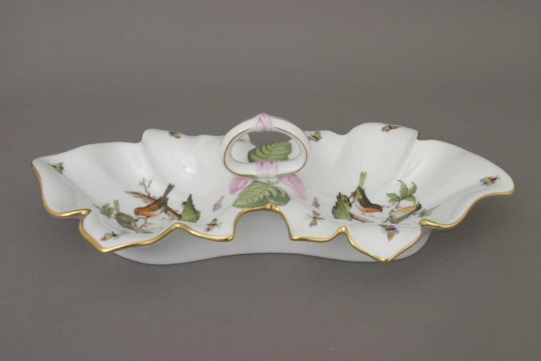 Double fancy dish, leaf-shaped - Herend Rothschild Bird